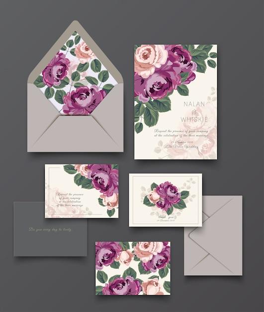 Modèle de collection de carte et lettre d'invitation rose pourpre. Vecteur Premium
