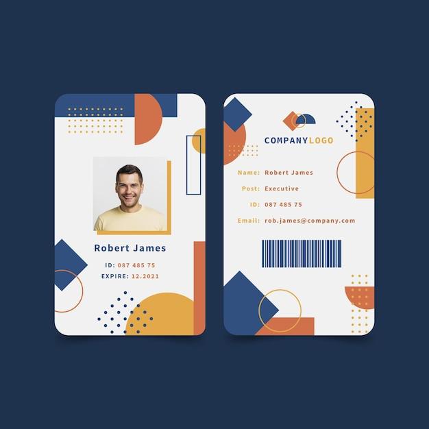 Modèle De Collection De Cartes D'identité Abstraites Avec Photo Vecteur gratuit