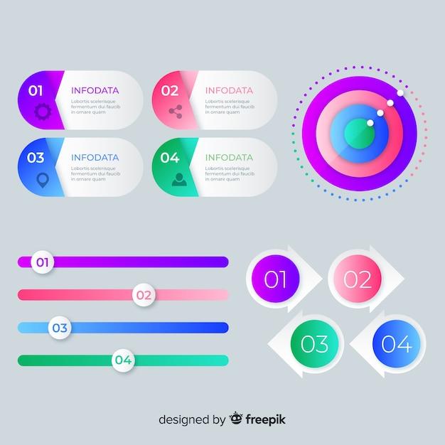 Modèle de collection d'étapes d'infographie Vecteur gratuit
