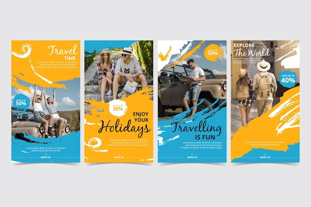 Modèle De Collection D'histoire De Voyage Instagram Vecteur Premium