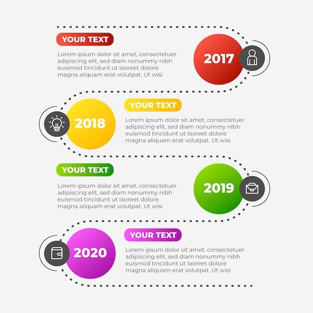 Modèle De Collection D'infographie Chronologique Vecteur Premium