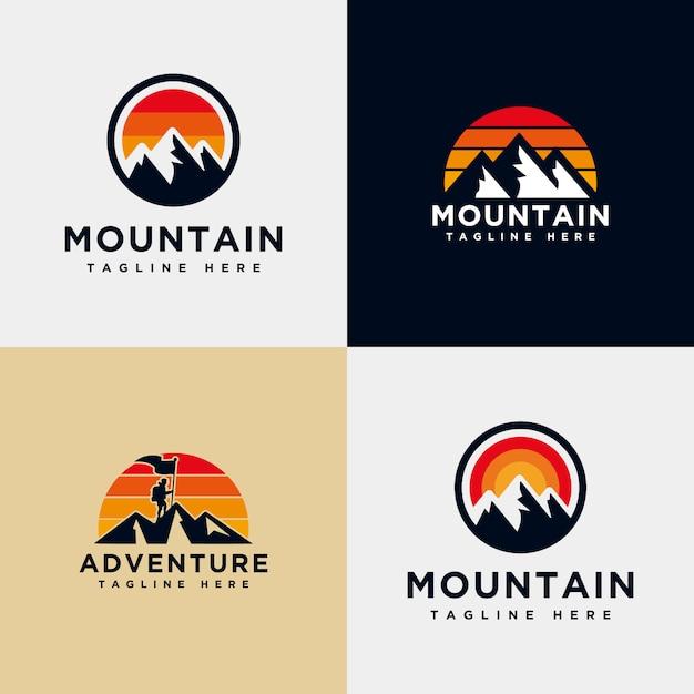 Modèle de collection logo montagne Vecteur Premium