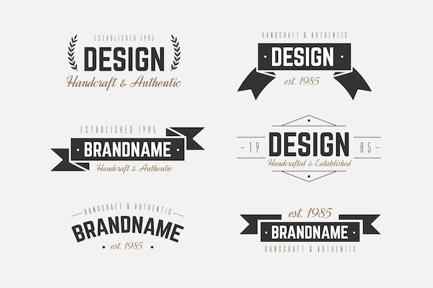Modèle De Collection De Logo Rétro Vecteur gratuit