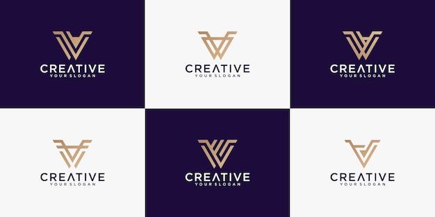 Modèle De Collection De Monogramme Logo Lettre V Créative Vecteur Premium