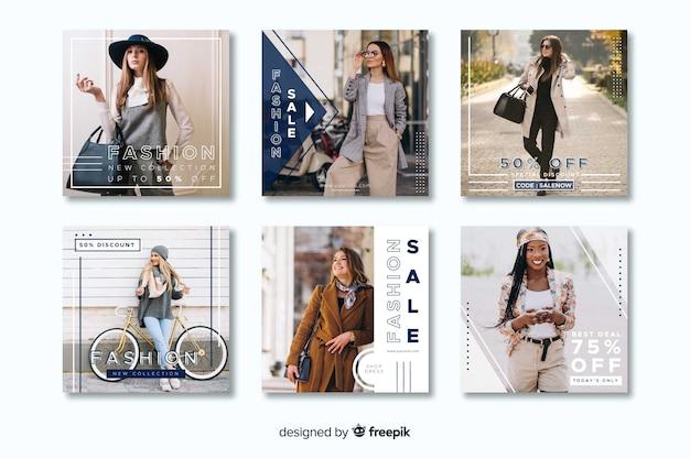 Modèle De Collection Post Instagram Occasionnel Géométrique Vecteur gratuit