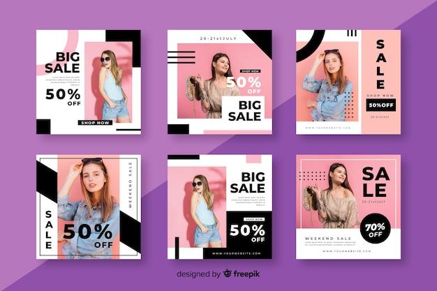 Modèle de collection post vente instagram avec photo Vecteur gratuit