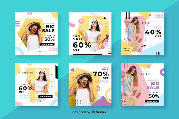Modèle de collection de vente instagram avec photo Vecteur gratuit