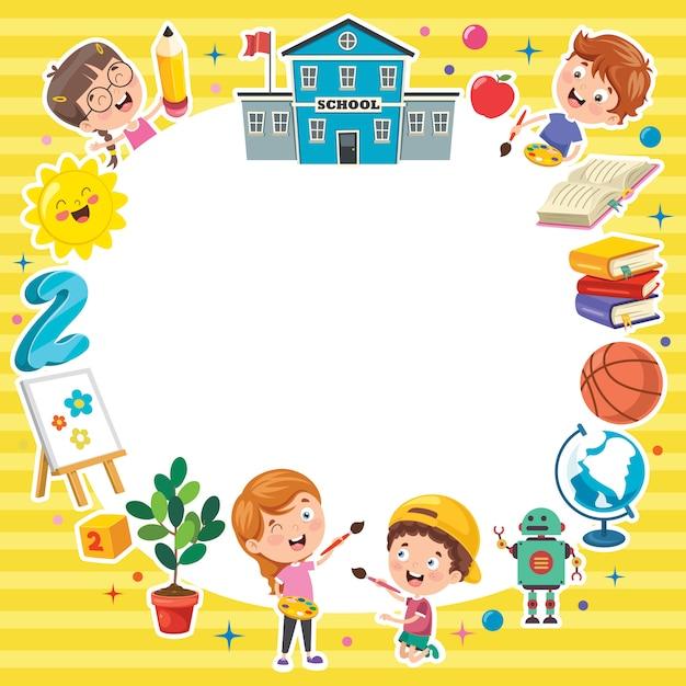 Modèle Coloré Avec Des Enfants Drôles Vecteur Premium