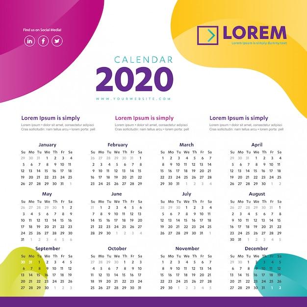 Modèle coloré mur calendrier 2020 Vecteur Premium