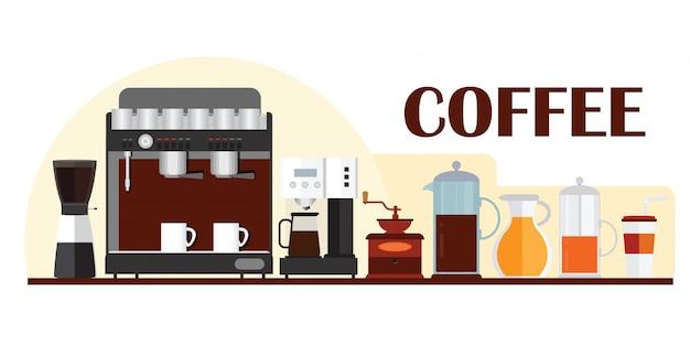 Modèle coloré pour la conception de bannière avec un équipement de café. Vecteur Premium