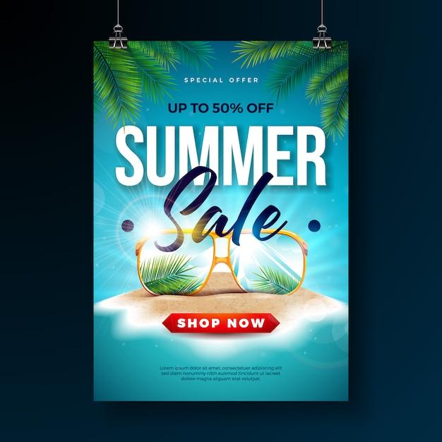 Modèle de conception affiche de vente d'été avec des feuilles de palmier exotiques et lunettes de soleil Vecteur Premium