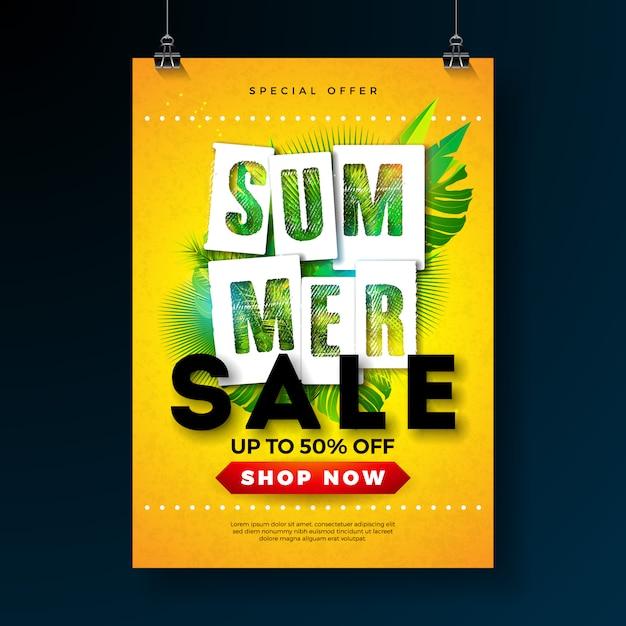 Modèle de conception d'affiche de vente de l'été avec des feuilles de palmier tropical et lettre de typographie Vecteur Premium