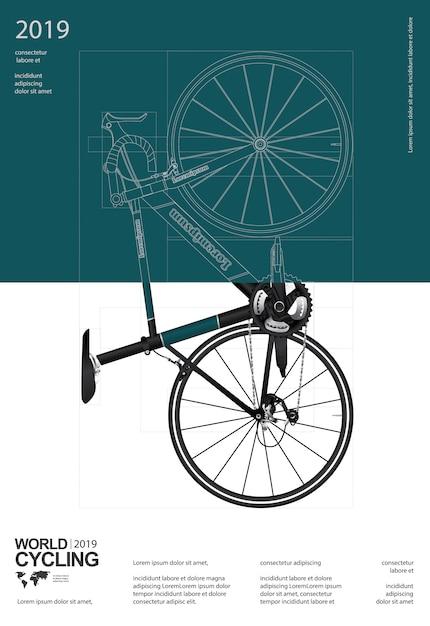 Modèle de conception d'affiches cyclistes Vecteur Premium