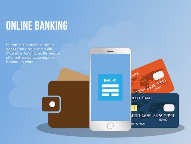 Modèle de conception bancaire en ligne concept illustration vectorielle Vecteur Premium
