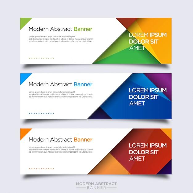 Modèle de conception de bannière colorée abstraite Vecteur Premium