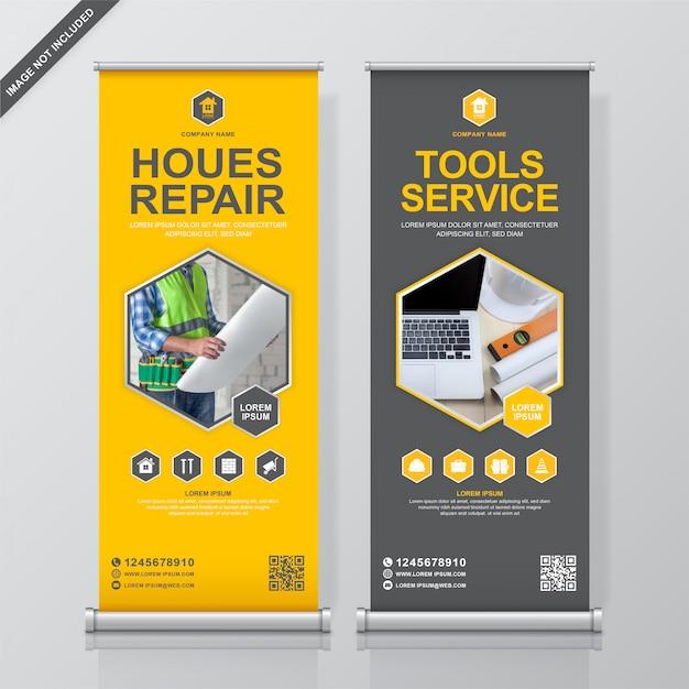 Modèle de conception de bannière outils de construction et rollup Vecteur Premium