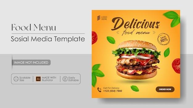 Modèle De Conception De Bannière Et De Promotion Des Médias Sosial Alimentaire Burger Vecteur Premium