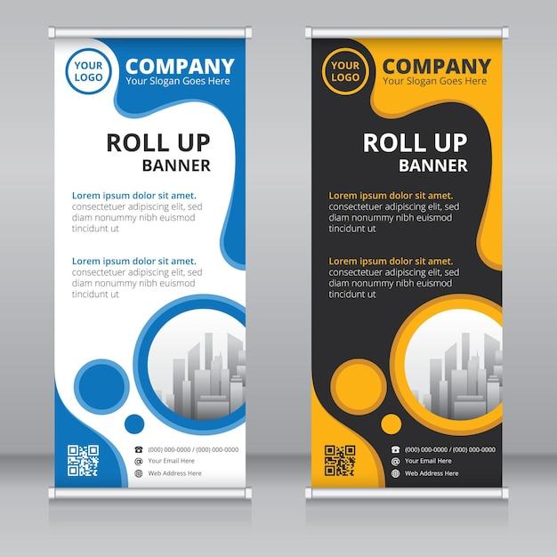 Modèle De Conception De Bannière Roll Up Moderne Vecteur Premium