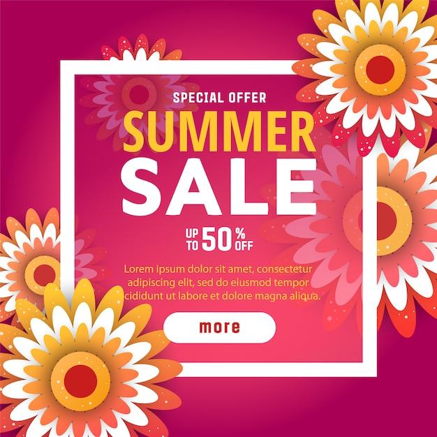 Modèle de conception de bannière de vente de l'été. Vecteur Premium