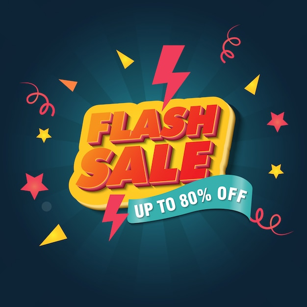 Modèle de conception de bannière de vente flash Vecteur Premium