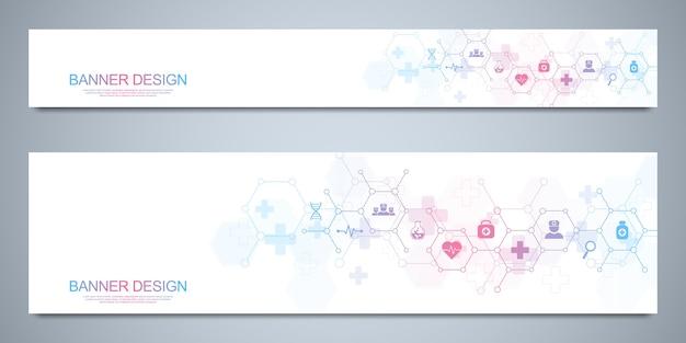 Modèle De Conception De Bannières Pour La Santé Et Les Icônes Et Symboles Plats Médicaux Vecteur Premium