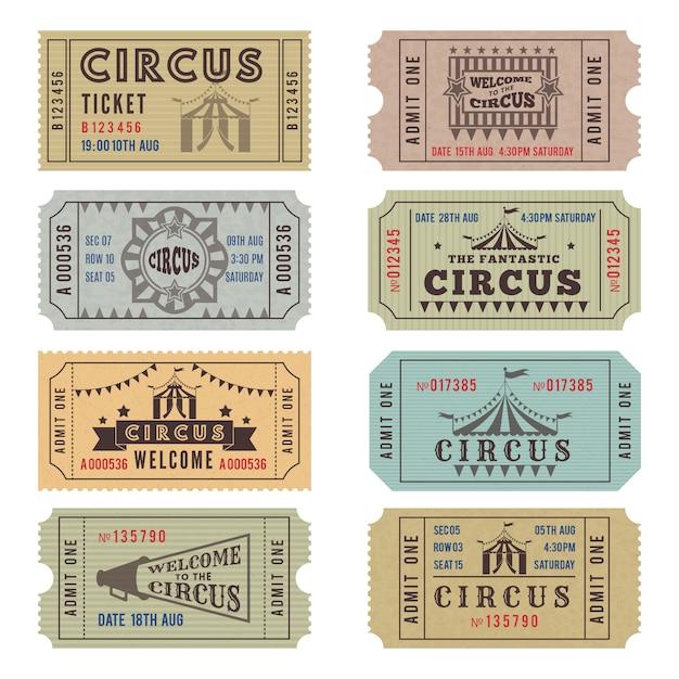 Modèle de conception de billets de cirque Vecteur Premium