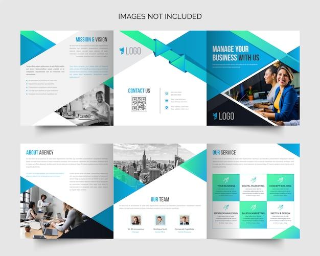 Modèle De Conception De Brochure D'entreprise Carré Professionnel à Trois Volets Vecteur Premium