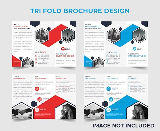 Modèle de conception de brochure d'entreprise à trois volets Vecteur Premium
