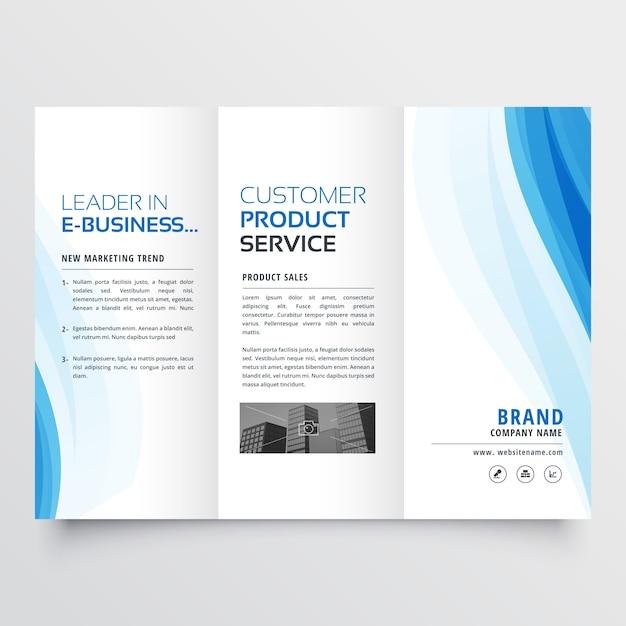 Modèle de conception de brochure triplé avec des formes ondulées bleues Vecteur gratuit