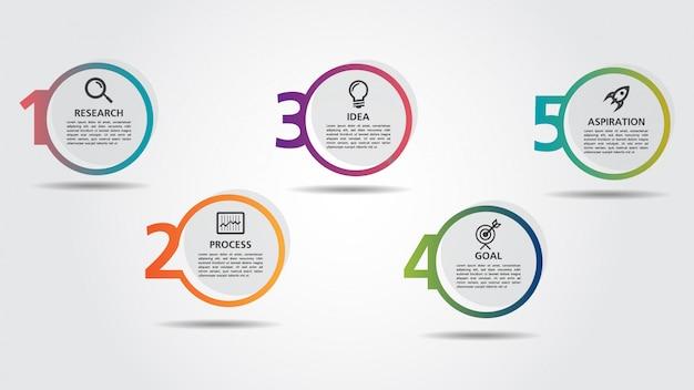 Modèle de conception business infographic avec options ou étapes Vecteur Premium