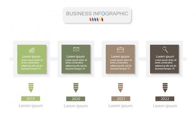 Modèle de conception business infographics. timeline avec 4 étapes Vecteur Premium