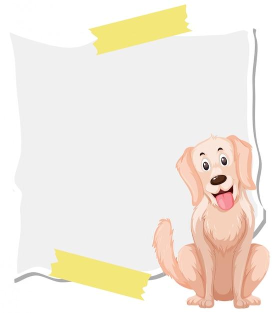 Modèle de conception de cadre avec chien heureux Vecteur Premium