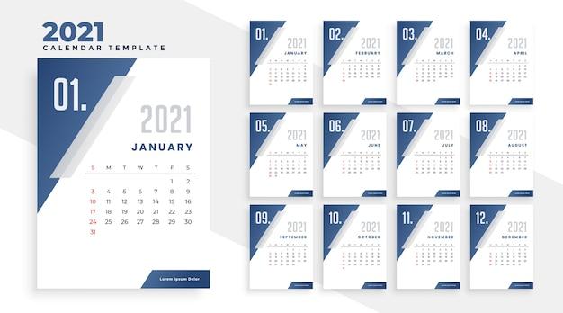 Modèle De Conception De Calendrier De L'année 2021 Dans Un Style Géométrique Vecteur gratuit