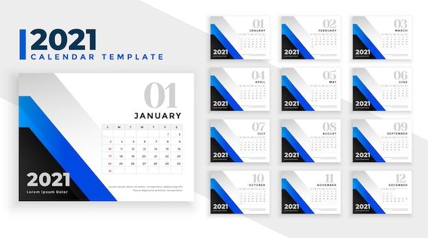 Modèle De Conception De Calendrier De Nouvel An 2021 En Formes Géométriques Bleues Vecteur gratuit
