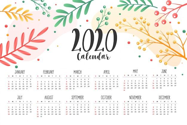 Modèle de conception de calendrier style 2020 fleurs et feuilles Vecteur gratuit