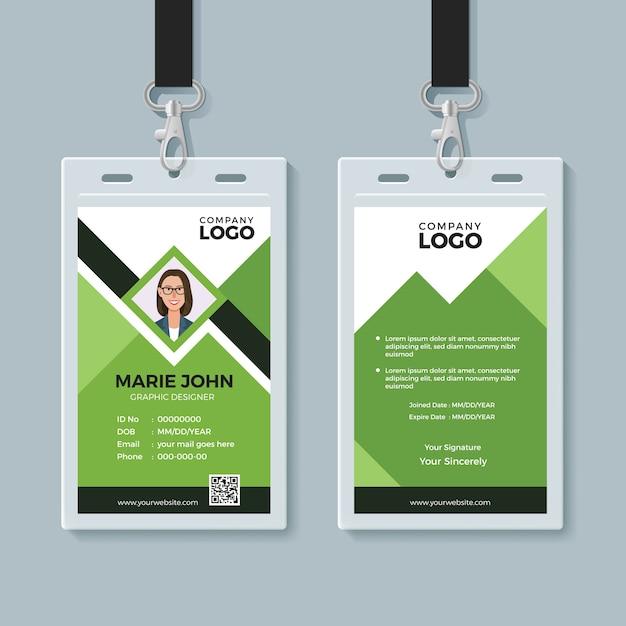 Modèle de conception de carte d'identité verte créative Vecteur Premium