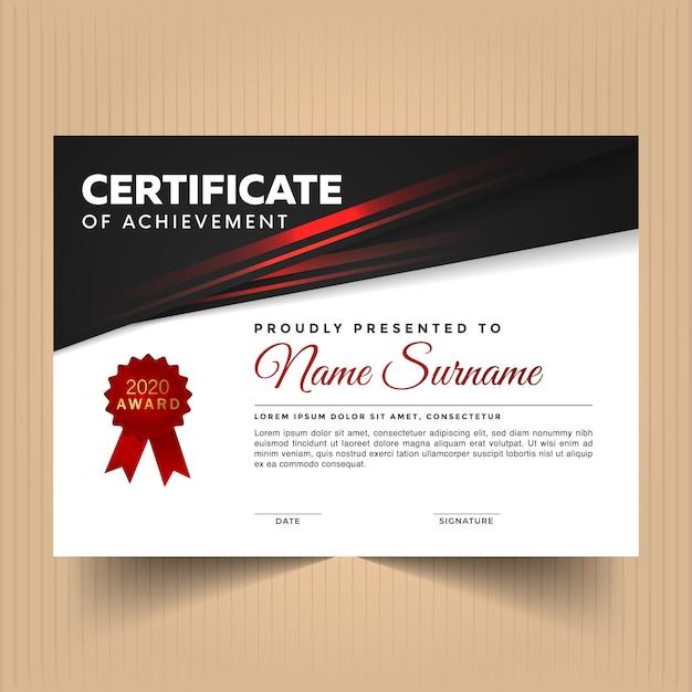 Modèle De Conception De Certificat D'appréciation Avec Des Lignes Rouges Modernes Vecteur Premium