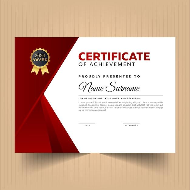 Modèle De Conception De Certificat Avec Couleur Rouge Vecteur Premium