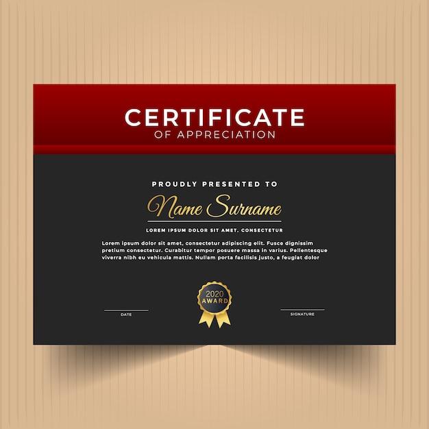 Modèle De Conception De Certificat Avec Des Couleurs Rouges Vecteur Premium