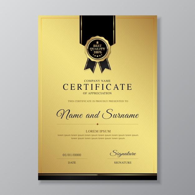 Modèle De Conception De Certificat Et Diplôme D'appréciation Luxe Et Moderne Vecteur Premium