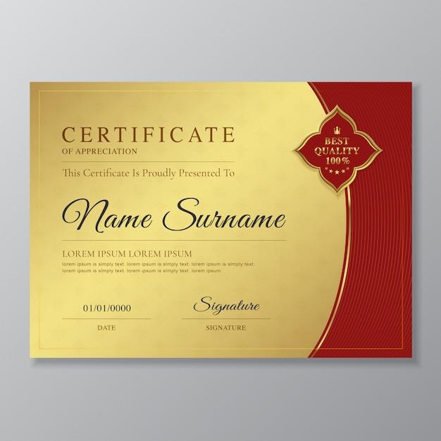 Modèle de conception de certificat et diplôme doré et rouge Vecteur Premium