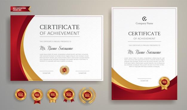 Modèle De Conception De Certificat Horizontal Et Vertical Avec Bordure Rouge Et Badges Or Vecteur Premium