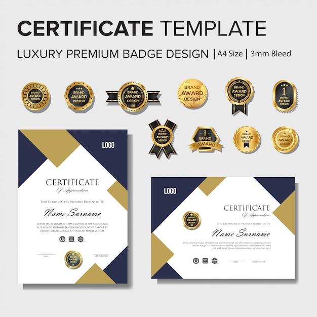 Modèle de conception de certificat moderne avec jeu d'insignes Vecteur Premium