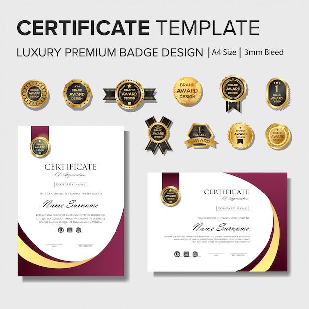 Modèle de conception de certificat professionnel avec badges Vecteur Premium