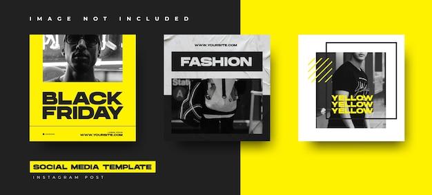 Modèle De Conception De Collection Post Instagram événement Vendredi Noir Avec Couleur Jaune Vecteur Premium