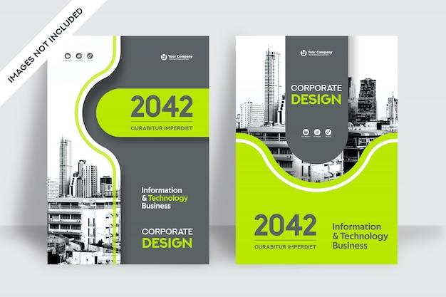 Modèle De Conception De Couverture De Livre D'affaires De Fond De Ville Vecteur Premium