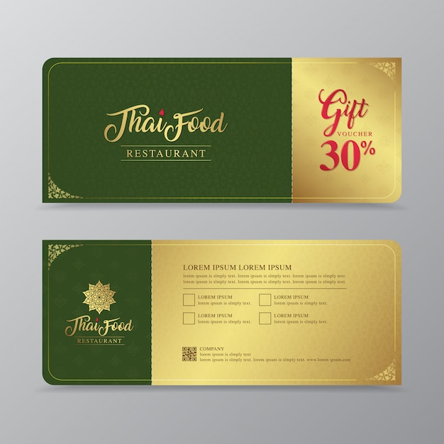 Modèle de conception de cuisine thaïlandaise et restaurant thaï bon-cadeau Vecteur Premium