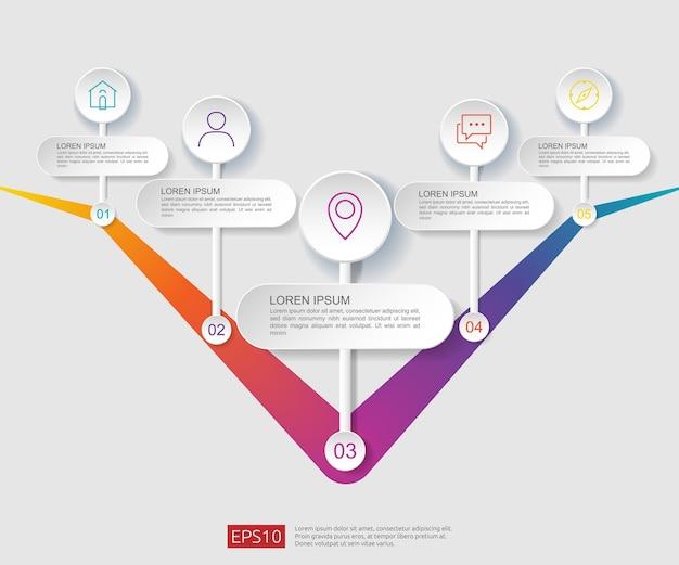 Modèle de conception de diagramme de flux infographique 5 étapes Vecteur Premium