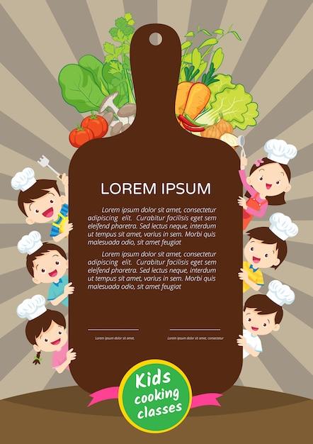 Modèle de conception du certificat de classe de cuisine pour enfants. mignon petit chef cuisine hommes de repas Vecteur Premium