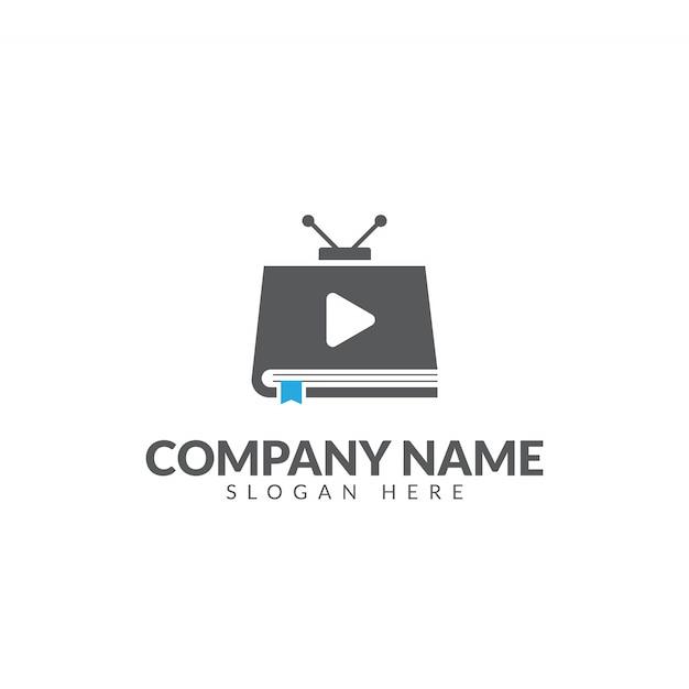 Modèle de conception du livre tv logo vector Vecteur Premium